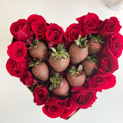 Roses and Chocolate Strawberries in Heart