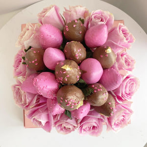 Pink Roses and Chocolate Covered Strawberries