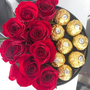 Roses and Ferrero Chocolate Alto Gift box