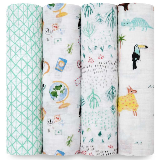 Aden and Anais Baby Classic Swaddles 4-pack Around the World