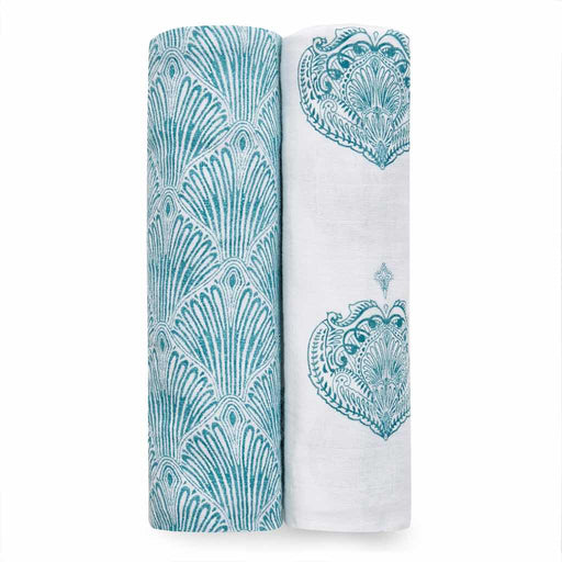 Aden and Anais  Classic Swaddles 2-pack Paisley Teal