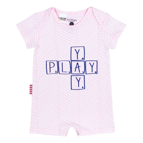 Sookibaby - Playsuit Envelope Neck Yay Play Chevron Light Pink