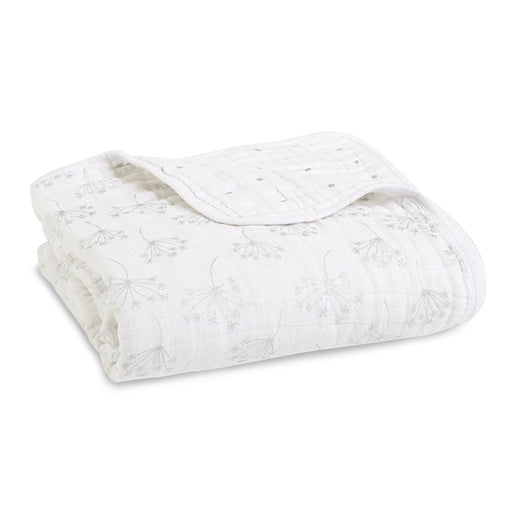 Aden and Anais - Classic Dream Blanket Metallic Silver Deco Dandelion
