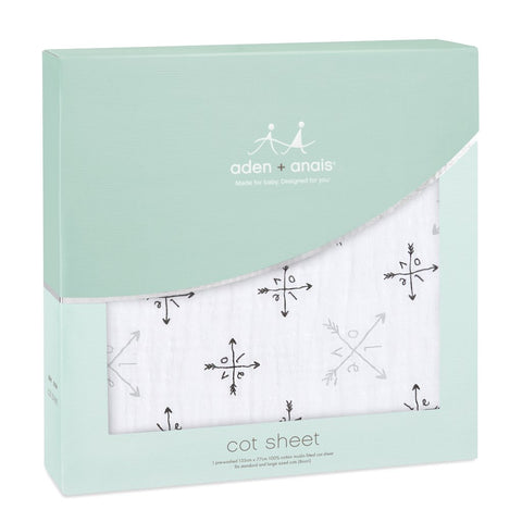 Aden and Anais - Classic Cot Sheet Lovestruck - Love