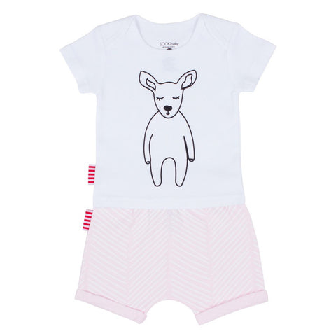 Sookibaby - Tee and Shorts 2-pack Set White and Pink Chevron