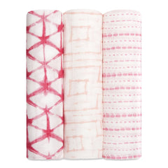 Aden and Anais - Silky Soft Bamboo Swaddles 3-pack Berry Shibori