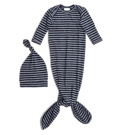 Aden and Anais Comfort Knit Newborn Gown and Hat Set Navy Stripes 0-3 Months