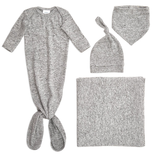 Aden and Anais Comfort Knit Newborn Gown Hat Bib and Blanket Set Heather Grey 0-3 Months