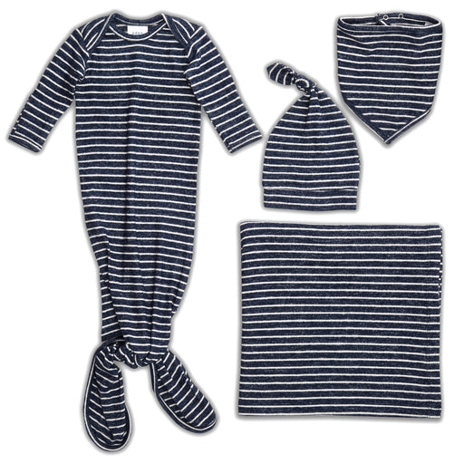 Aden and Anais Comfort Knit Gown Hat Bib and Blanket Set Navy Stripes 0-3 Months