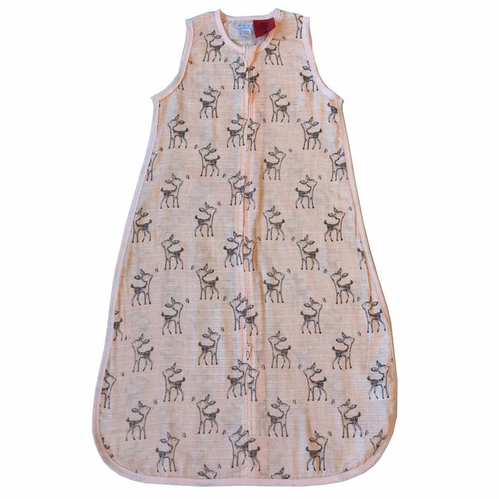 Plum - 0.5 tog 100% Muslin Cotton Sleeping Bag Deer