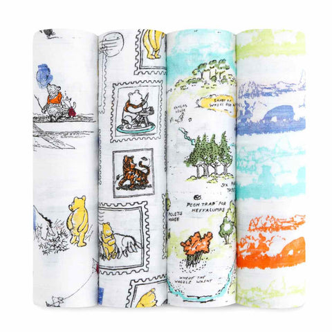 Aden and Anais - Disney Baby Classic Swaddles 4-pack Winnie the Pooh
