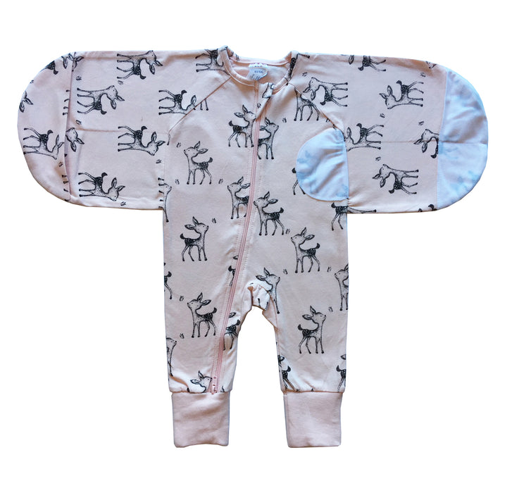 Plum - 0.5 tog 100% Cotton Swaddle Suit Deer