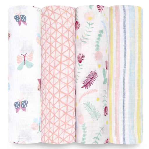 Aden and Anais Essentials Swaddles 4-pack Floral Fauna