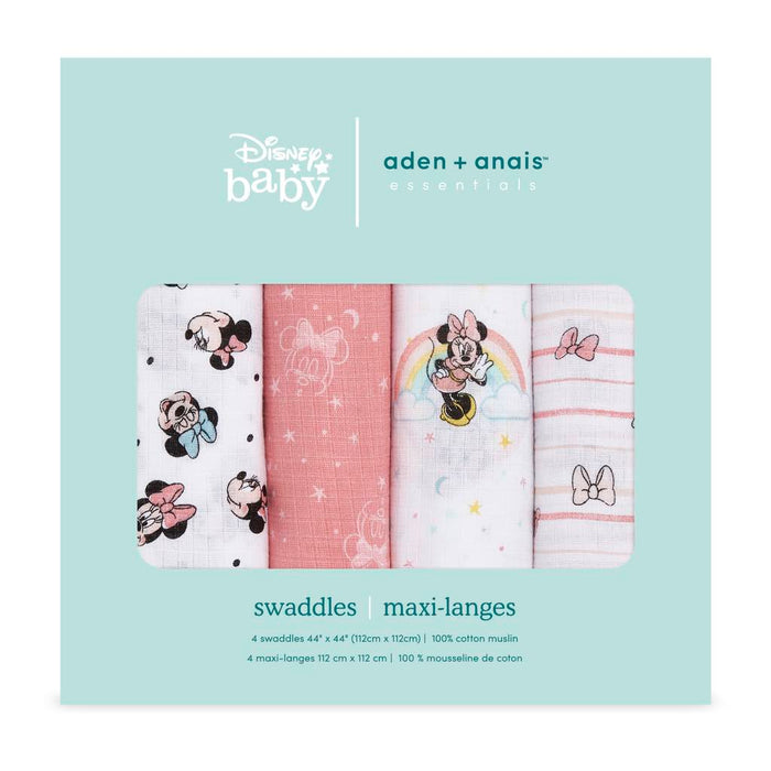 Aden and Anais Essentials Swaddles 4-pack Disney Minnie