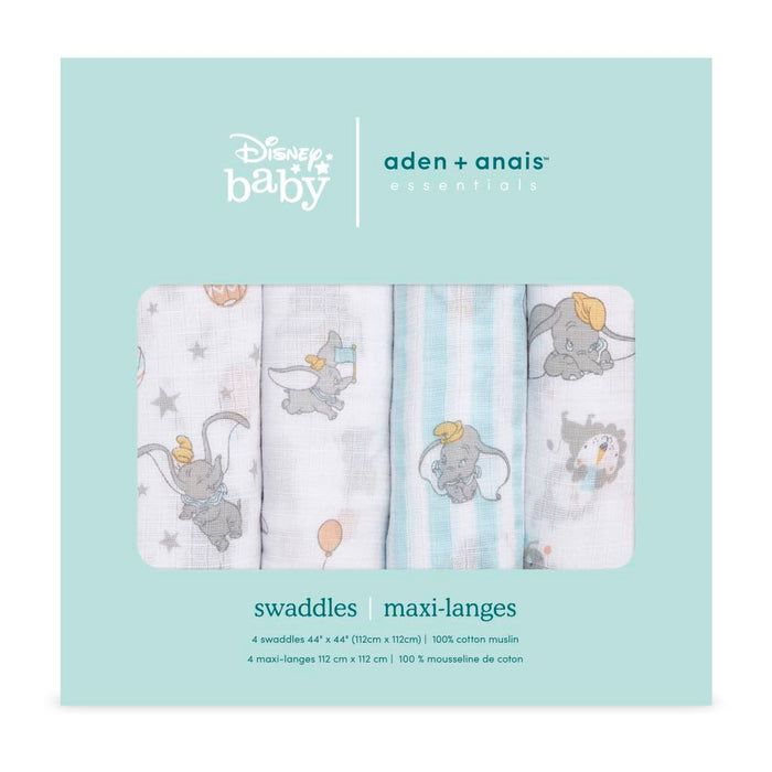 Aden and Anais Essentials Swaddles 4-pack Disney Dumbo
