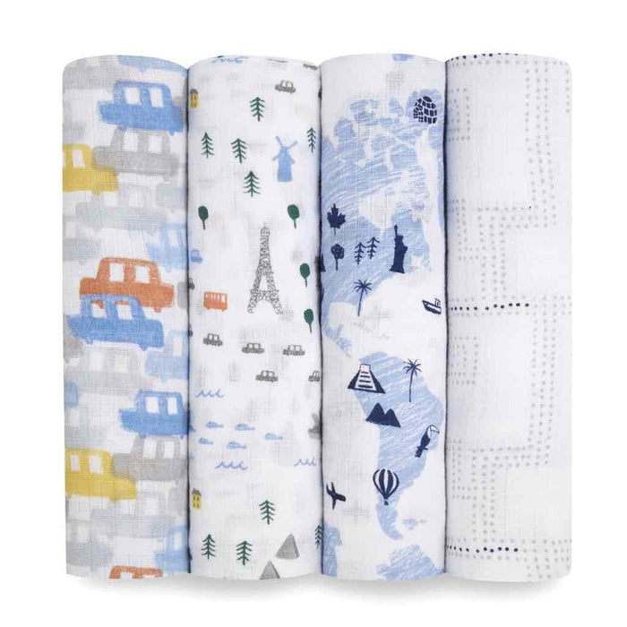 Aden and Anais Essentials Swaddles 4-pack Little Big World