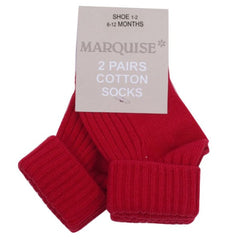 Marquise - Knitted Socks 2-pairs Red and Grey Marle