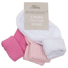 Marquise - Knitted Socks 3-pairs White, Light Pink and Sweet Pink