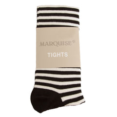 Marquise - Knitted Cotton Tights Black/White Stripes