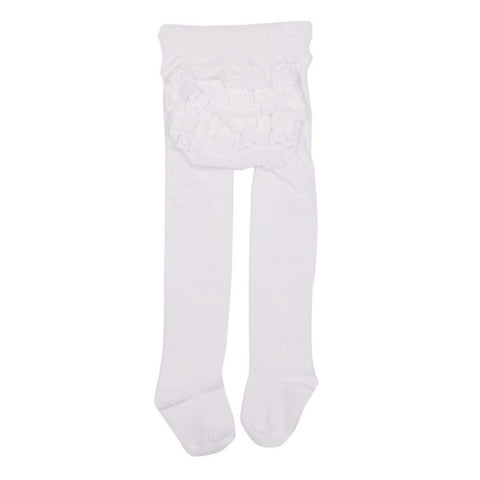 Marquise - Knitted Cotton Tights with Frilled Back White