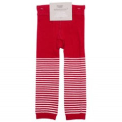 Marquise - Knitted Footless Tights Red with White Stripes