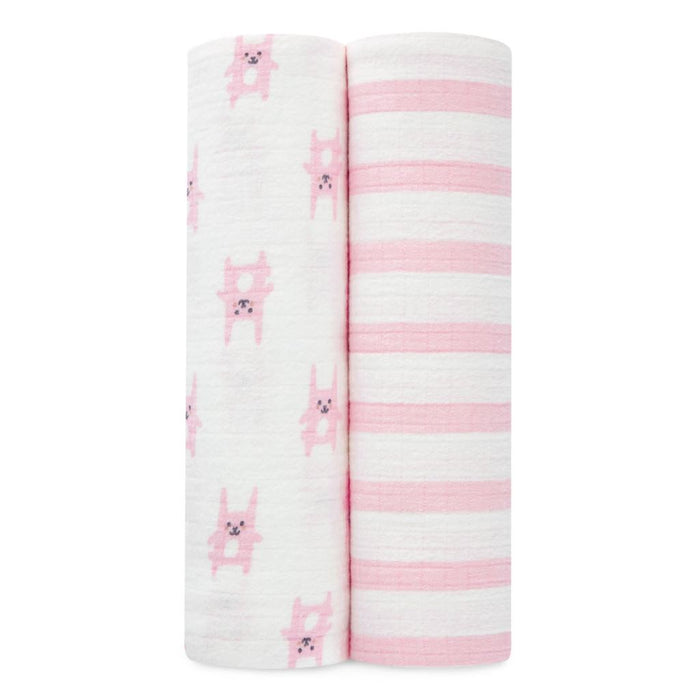 Aden by Aden and Anais Flannel Swaddles Bunny Pink 2PK