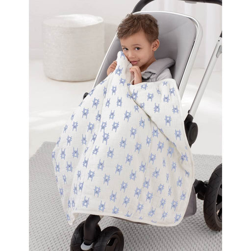 Aden by Aden and Anais Flannel Mini Blanket Bunny Blue