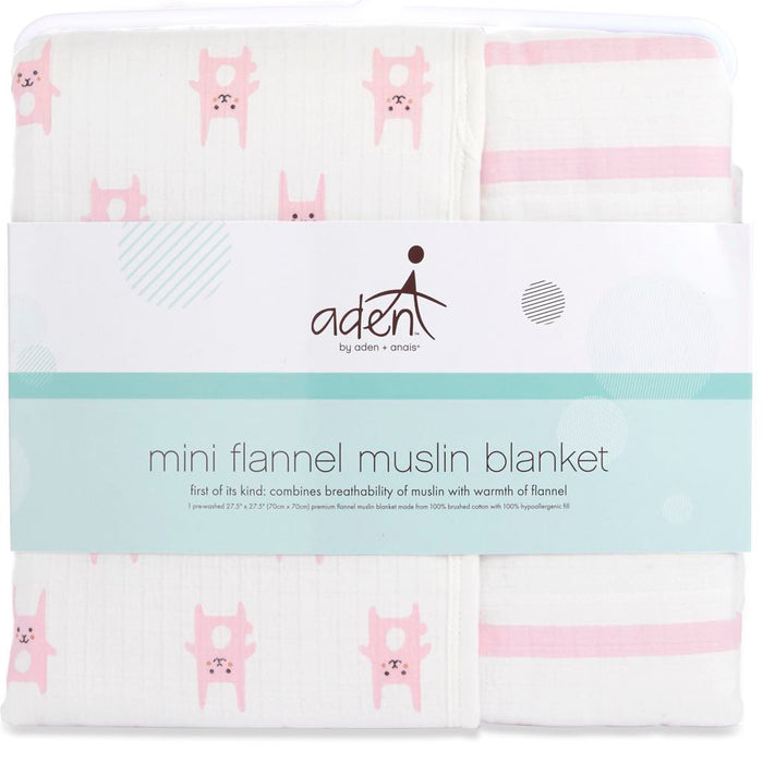 Aden by Aden and Anais Flannel Mini Blanket Bunny Pink