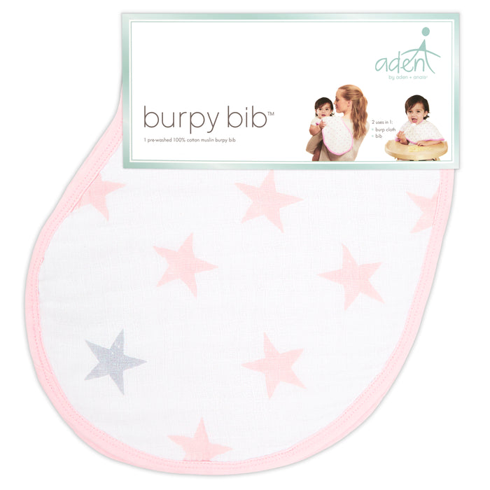 Aden and Anais Essentials Baby Burpy Bib Single Doll Stars