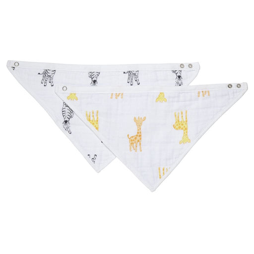 Aden by Aden and Anais - Safari Babes Muslin Bandana Bibs Giraffe and Zebra 2PK