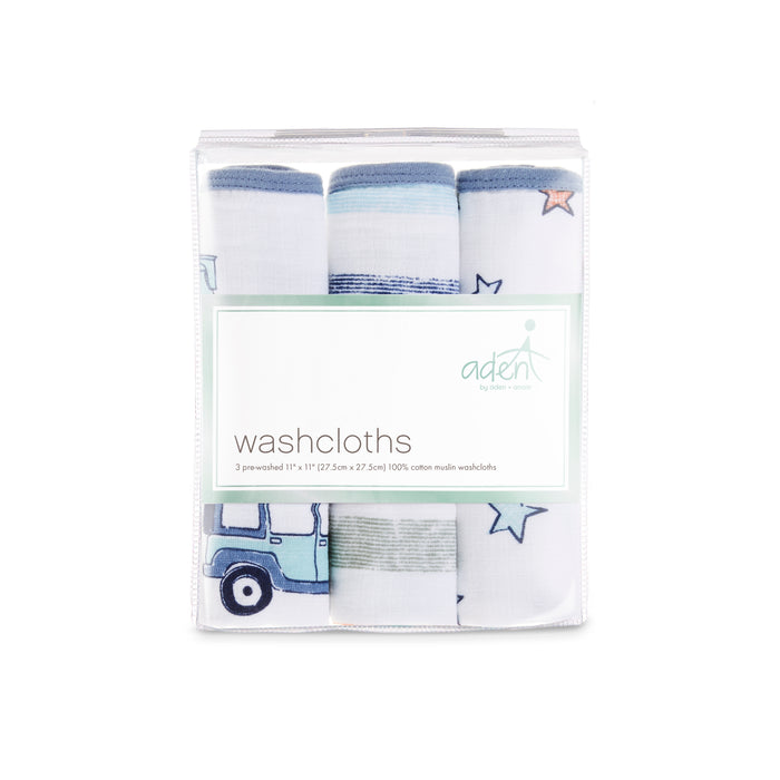 Aden by Aden and Anais Washcloth Sets 3-pack Hit the Road