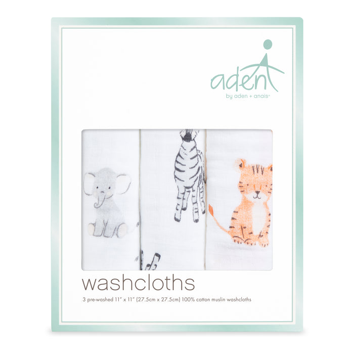 Aden by Aden and Anais Washcloth Sets 3-pack Safari Babes