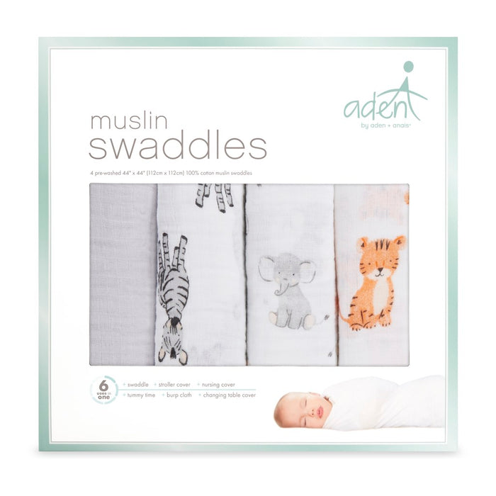 Aden by Aden and Anais - Swaddles 4-pack Safari Babes
