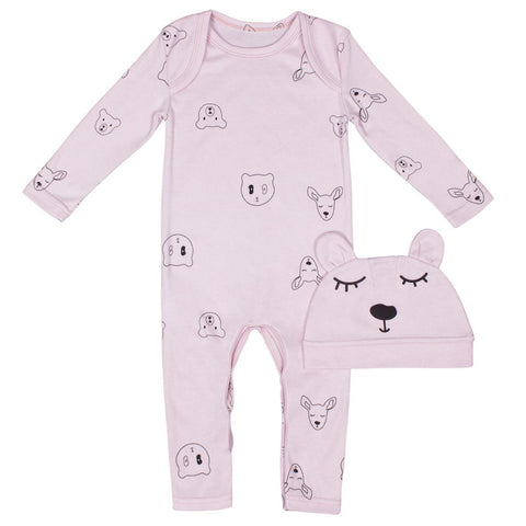 Sookibaby - Romper and Beanie 2-piece Set Oh Deer