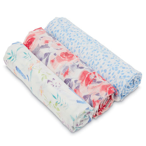 Aden and Anais White Label Swaddles 3-pack Watercolour Garden