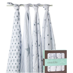 Aden and Anais | Classic Swaddles 4-pack Twinkle Grey Stars 4 Pack