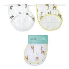 Aden and Anais | Classic Burpy Bibs 2-pack Jungle Jam Monkey + Giraffe