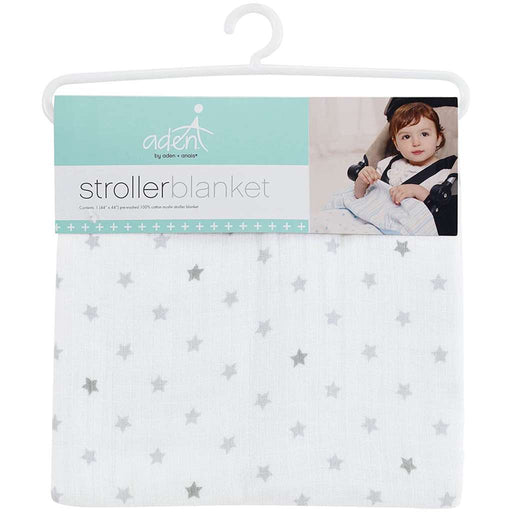 Aden by Aden and Anais - Muslin Stroller Blanket Grey Stars