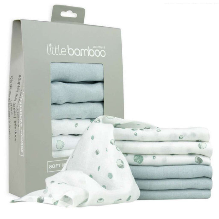 Little Bamboo Muslin Baby Washers 6 pack Whisper
