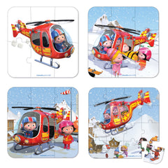 Janod - Puzzle 6, 9, 12 and 24-pieces Peters Helicopter