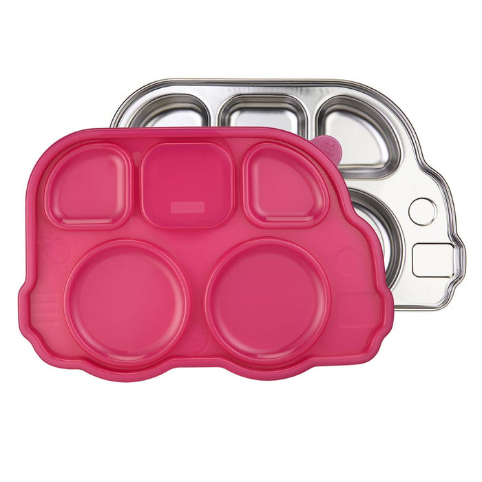 Innobaby - Din Din Smart Stainless Divided Platter with Sectional Lid Pink Bus
