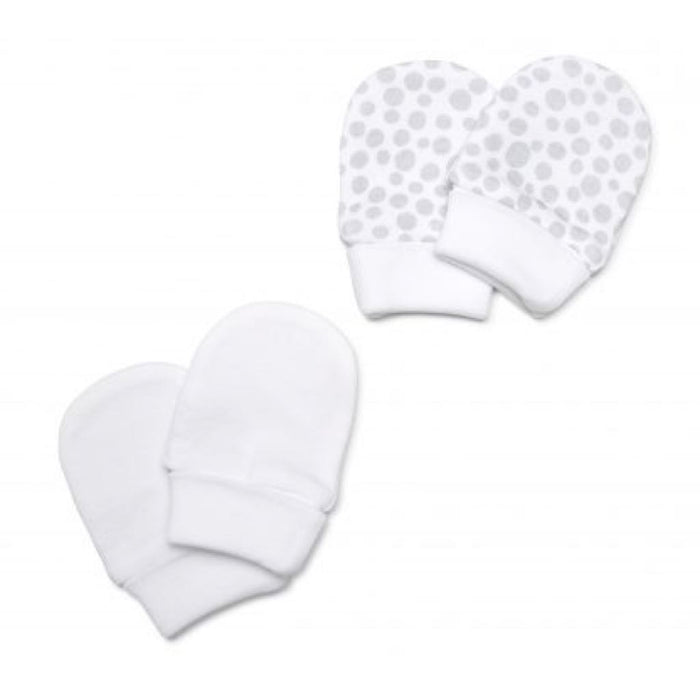 Marquise Cotton Mittens 2 Pairs - Grey and White