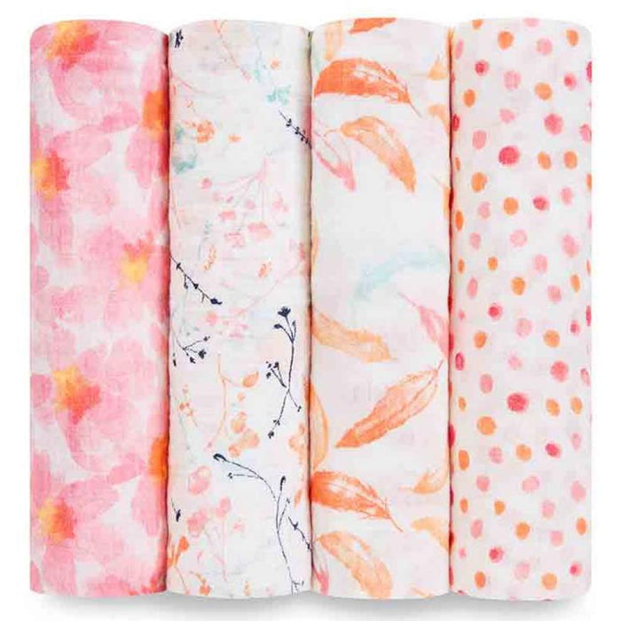 Aden and Anais Baby Classic Swaddles 4-pack Petal Blooms
