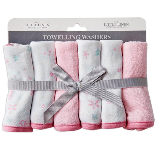 Little Linen Towelling Washers 6PK Pink Meadow Bunnies