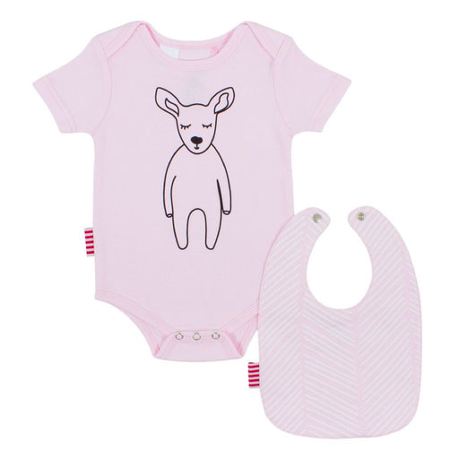 Sookibaby - Snapsuit and Bib 2-pack Set Pink/Chevron