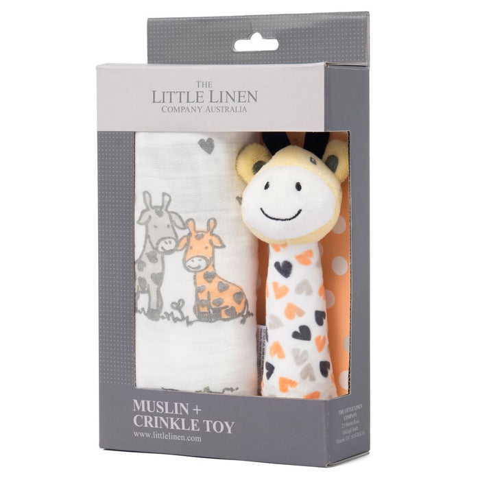 Little Linen - TLLC Muslin Wrap & Crinkle Toy Orange Giraffe