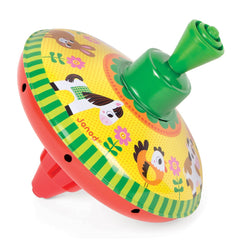 Janod - Mini Spinning Top Farm Red Base with Green Handle