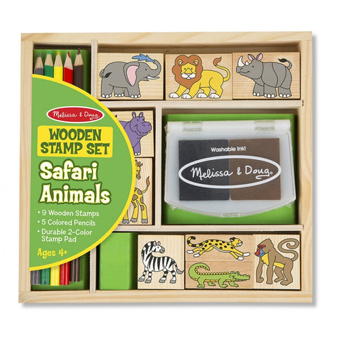 Melissa and Doug - Wooden Stamp Set Safari Animals