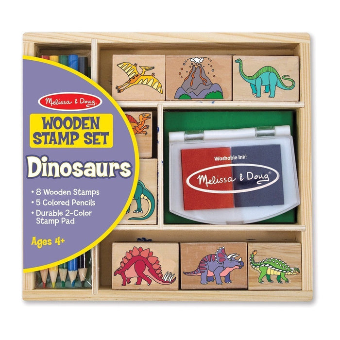 Melissa and Doug | Wooden Stamp Set Dinosaur