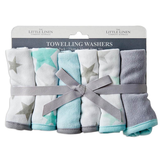 Little Linen Towelling Washers 6PK Skydream Teal